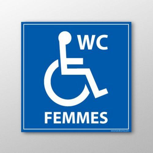 Panneau pmr signal tique wc femmes pmr pvc ou vinyle adh sif for Porte wc pmr