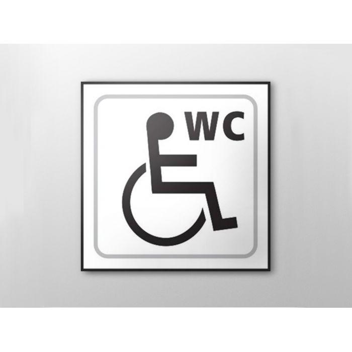 Picto signal tique en relief toilettes handicap s for Porte wc pmr