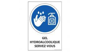 Panneau Gel hydroalcoolique servez-vous - vinyle souple ou PVC - A5 ou A4