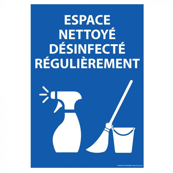 Panneau Espace nettoyé et désinfecté régulièrement - vertical - A4 ou A5