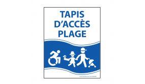 """Panneau """"Tapis d'accès plage"""" bleu - PVC - 3 dimensions"""