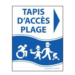 "Panneau ""Tapis d'accès plage"" bleu - PVC - flèche droite - 3 dimensions"