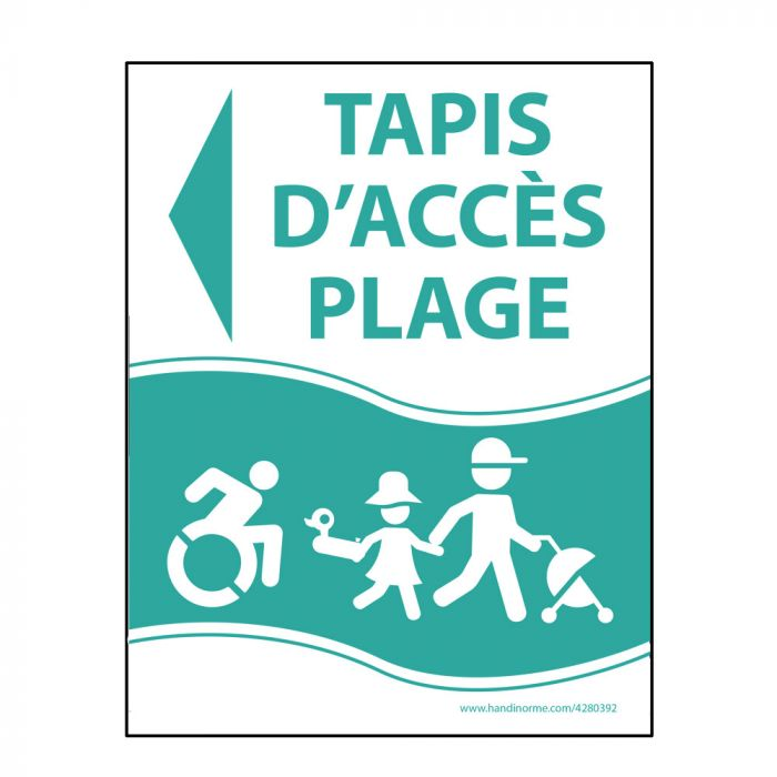 """Panneau """"Tapis d'accès plage"""" vert - PVC - flèche gauche - 3 dimensions"""