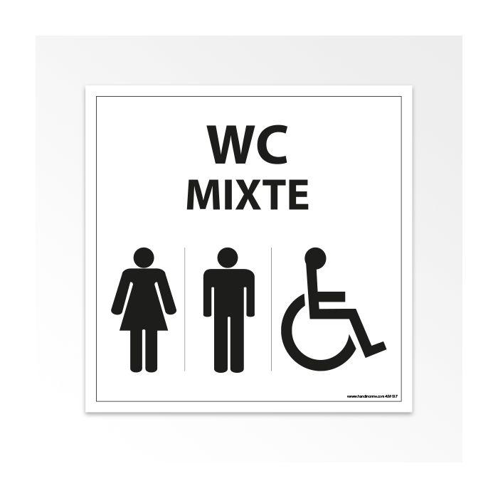 Panneau Signalisation - WC Mixte Femme Homme PMR - Blanc