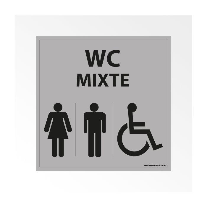 Panneau Signalisation - WC Mixte Femme Homme PMR - Gris