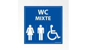 Panneau Signalisation - WC Mixte Femme Homme PMR - Bleu