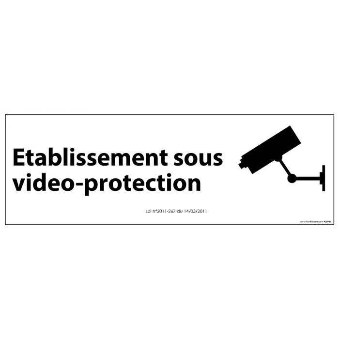 Signalisation d'information Etablissement sous vidéo-protection BLANC
