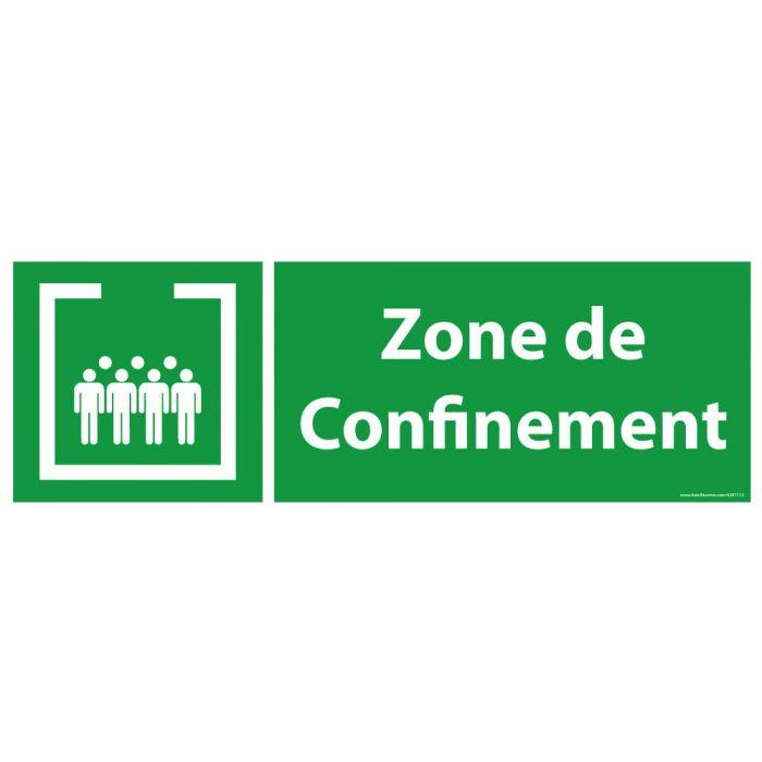 Panneau et autocollant Zone de confinement avec texte - paysage