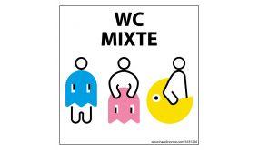 """Panneau signalétique Homme+Femme+PMR + """"WC Mixte"""" PacNorm - 125 x 125 mm"""