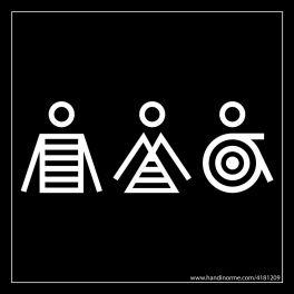 Panneau signalétique Homme+Femme+PMR Marinière - 125 x 125 mm - noir