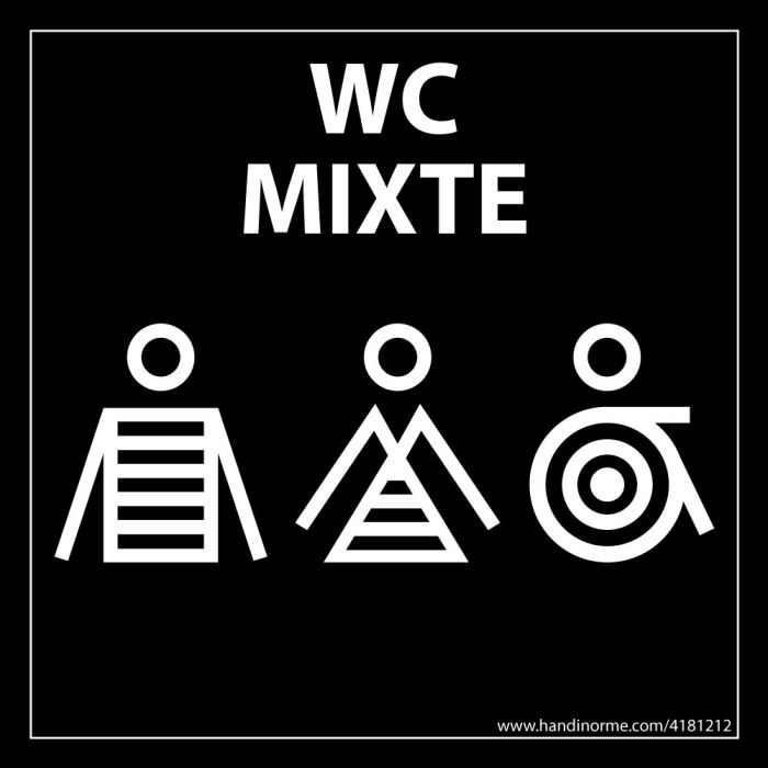 """Panneau signalétique Homme+Femme+PMR + """"WC Mixte"""" Marinière - 125 x 125 mm - noir"""
