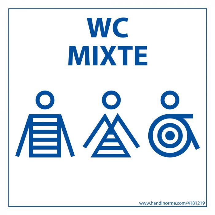 """Panneau signalétique Homme+Femme+PMR + """"WC Mixte"""" Marinière - 125 x 125 mm"""