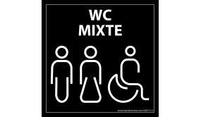 """Panneau signalétique Homme+Femme+PMR + """"WC Mixte"""" Meri - 125 x 125 mm"""