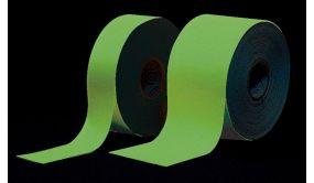 Ruban balisage photoluminescent de sécurité - 20mm x 10m - int ou ext sous abri
