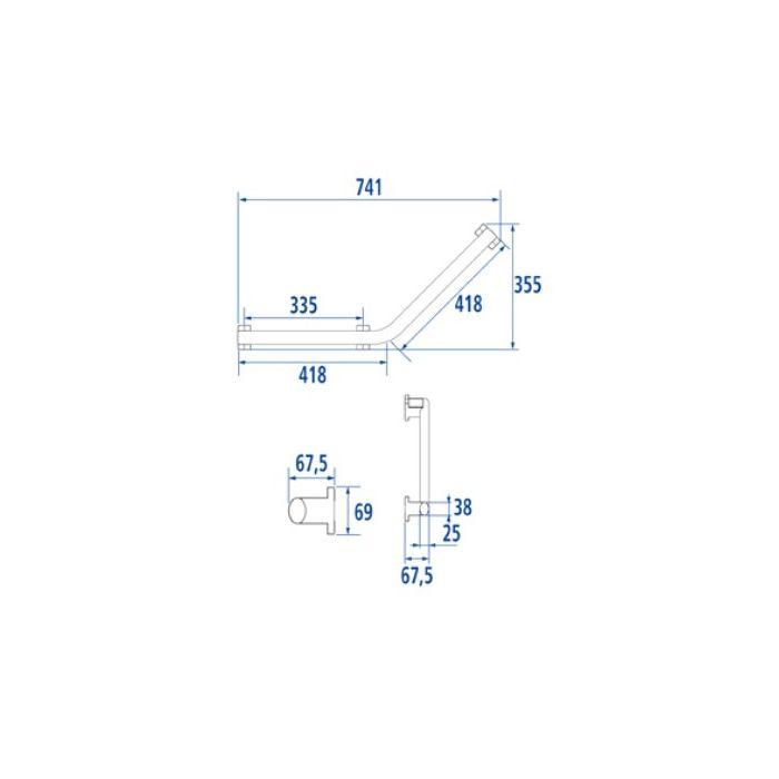 barre d 39 appui coud e 135 design pour pmr blanche avec 2 fixations. Black Bedroom Furniture Sets. Home Design Ideas