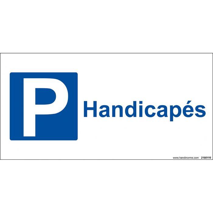 panneau parking avec texte handicap pour indiquer une place handicap e sur votre parking. Black Bedroom Furniture Sets. Home Design Ideas