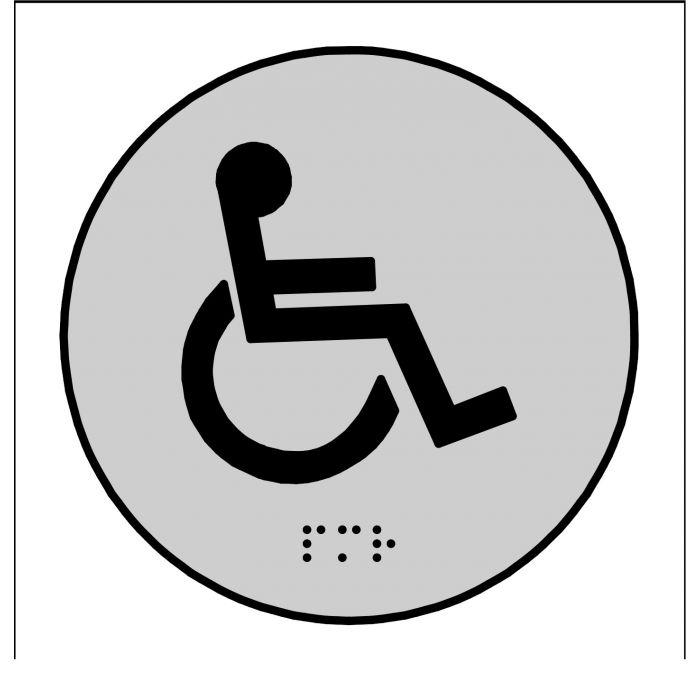 Plaques en relief et braille toilettes Handicapés ROND GRIS