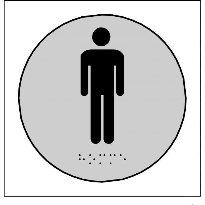 Plaque en relief et braille toilettes Hommes GRIS ROND