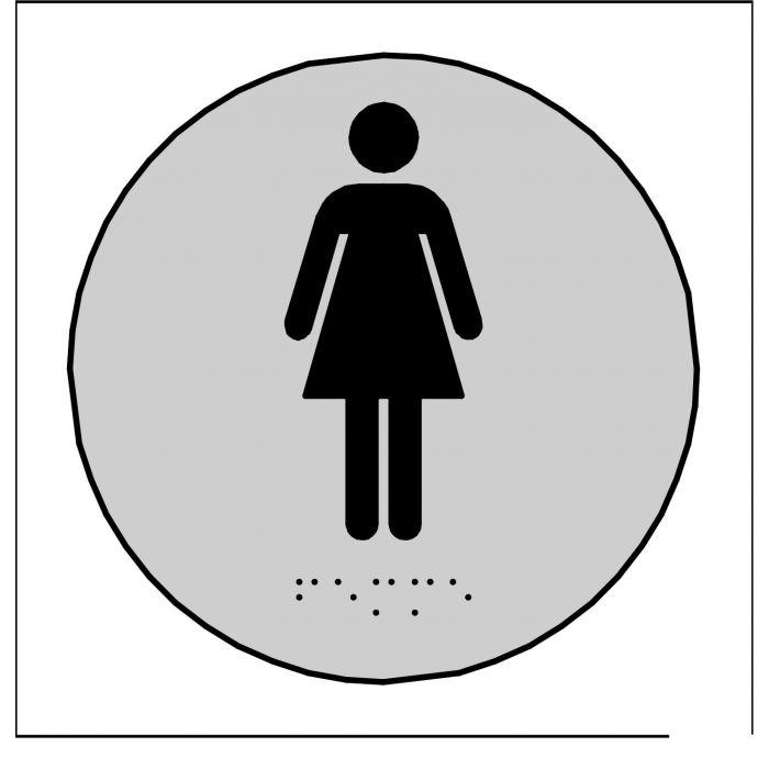 Plaques en relief et braille toilettes Femmes ROND GRIS