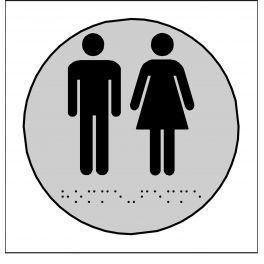 Plaques en relief et braille toilettes Hommes et Femmes rond fond gris