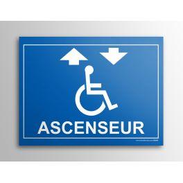 """Plaque gravée Accès """"Ascenseur"""" + Picto Handicapé"""