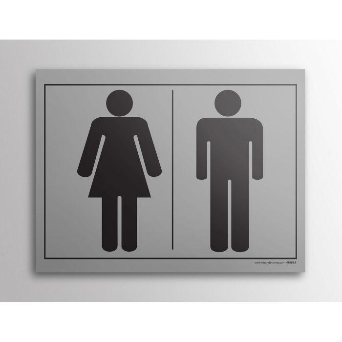 Plaque gravée picto - homme/femme - 10 x 14 cm GRIS