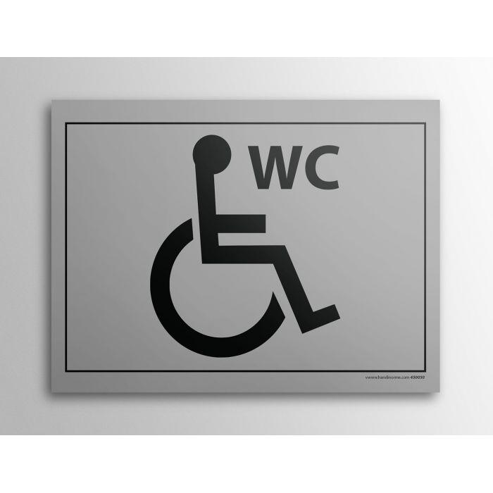 Plaque Gravée - WC pour PMR - 10 x 14 cm GRIS
