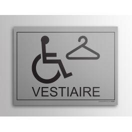 Plaque gravée Vestiaire + picto PMR