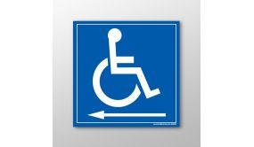 Panneau signalétique Handicapés flèche gauche