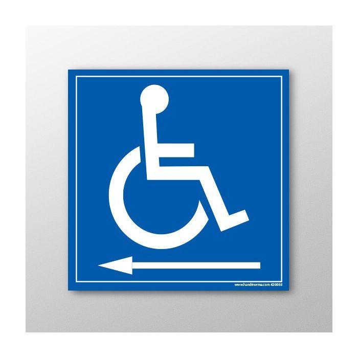 """Panneau signalétique """"Handicapés flèche gauche"""""""