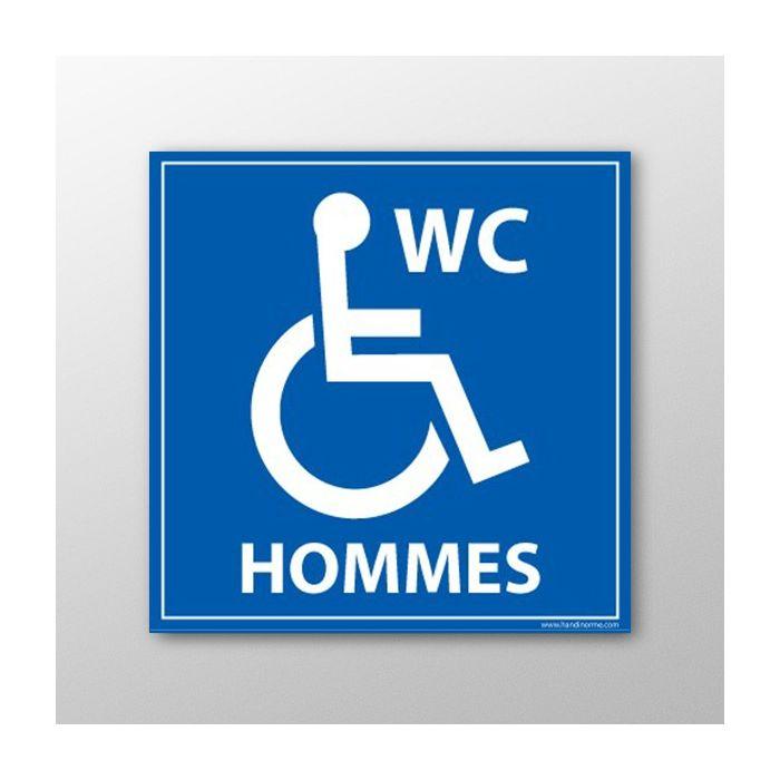 """Panneau signalisation """"WC Hommes"""" Handicapé"""