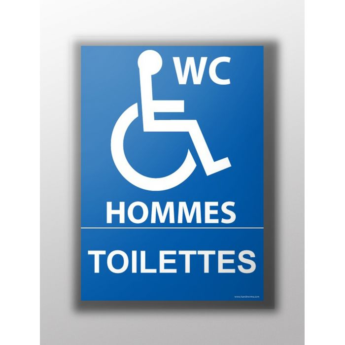 """Panneau """"Toilettes Hommes Toilettes"""" + Picto Handicapé"""