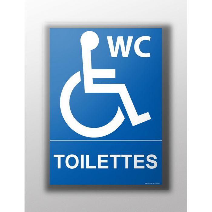 panneau de signalisation toilettes handicap s fond bleu texte blanc. Black Bedroom Furniture Sets. Home Design Ideas