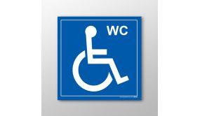 """Panneau signalétique """"WC"""" avec picto Handicapé"""