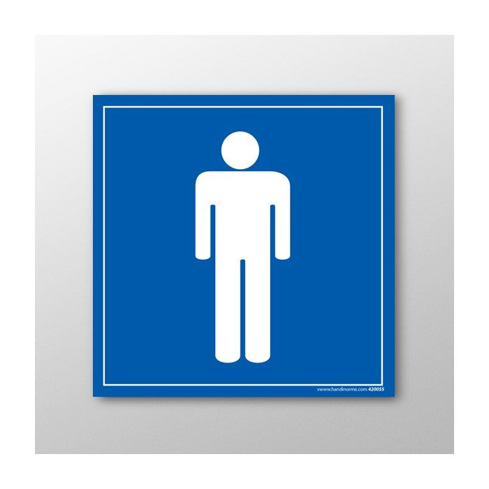 """Panneau signalétique pour les Toilettes """"Homme"""" fond bleu"""