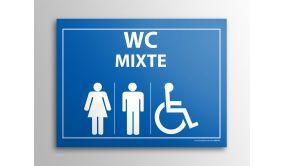 Plaque gravée Mixte WC + personnes Handicapées