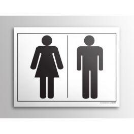 Plaque gravée picto - homme/femme - 10 x 14 cm BLANC