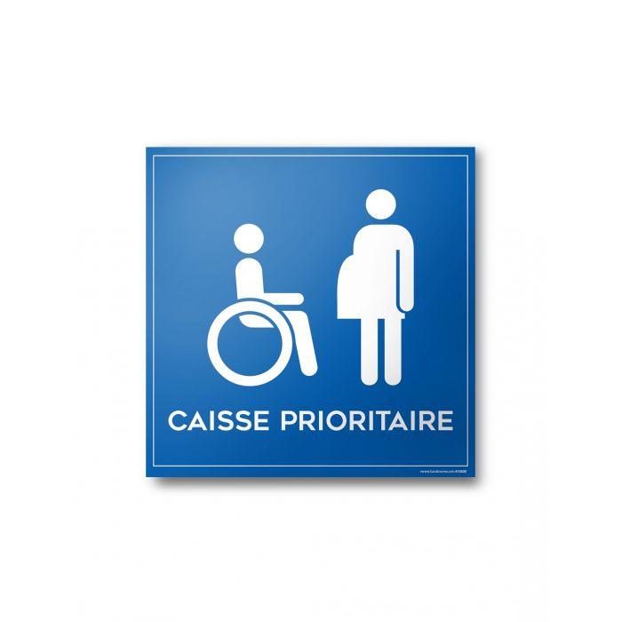 Autocollant caisse prioritaire aux personnes en situation de handicap et à mobilité réduite PMR