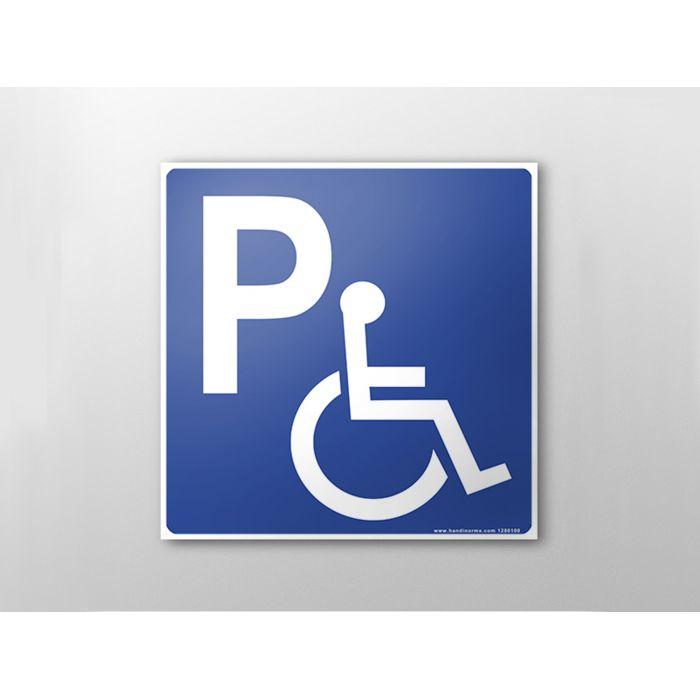 panneau de parking picto pmr en tole d 39 aluminium avec un couvre chant. Black Bedroom Furniture Sets. Home Design Ideas