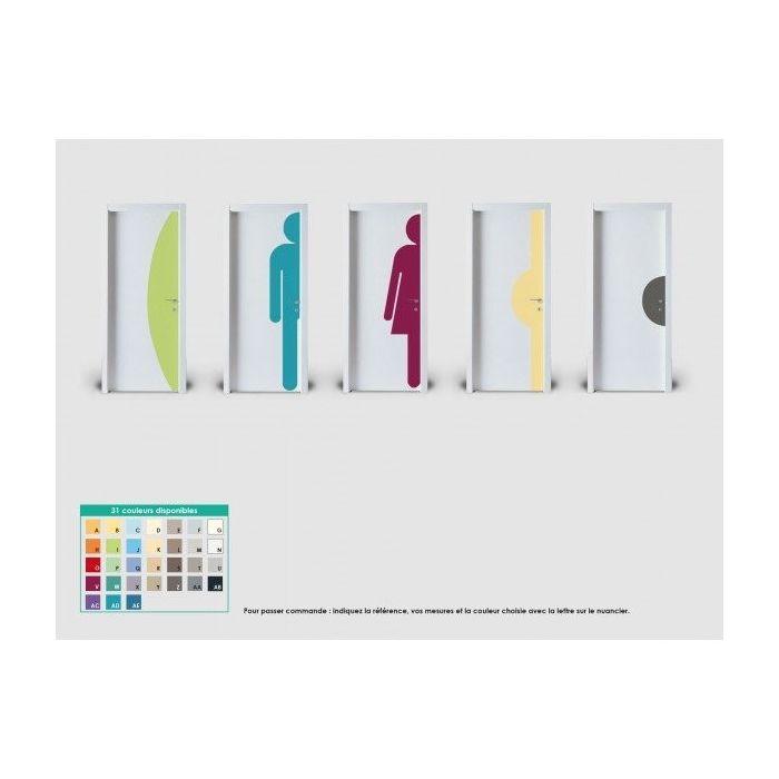Plaque de porte silhouette DEMI-LUNE hauteur 500mm