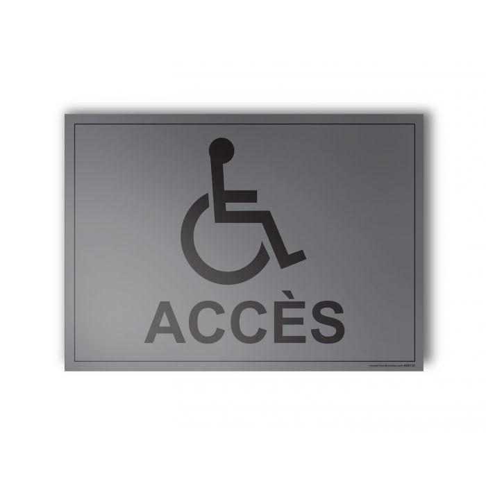 """Plaque gravée """"Accès"""" + Picto Handicapé"""