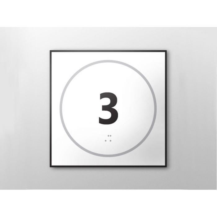 Panneau porte - NUMERO 3 - relief et braille