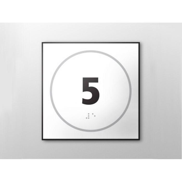 Panneau porte - NUMERO 5 - relief et braille