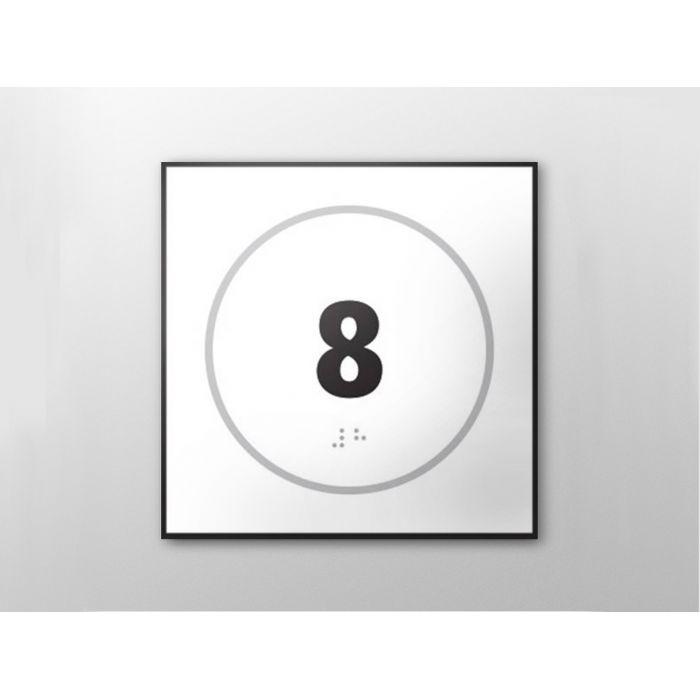 """Panneau en relief et en braille """"Numéro 8"""""""