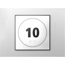 Panneau porte - NUMERO 10 - relief et braille BLANC