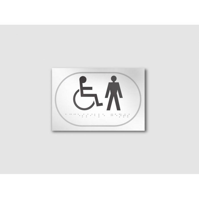 Panneau picto Handicapé + HOMME - relief et braille