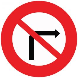"""Panneau de circulation """"interdiction de tourner à droite"""""""