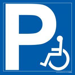 Panneau Parking Lettre P logo PMR - Dibond -3 formats carrés