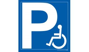 Panneau parking P + pictogramme - personne handicapée
