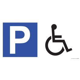 Panneau de parking en aluminium P + symbole PMR
